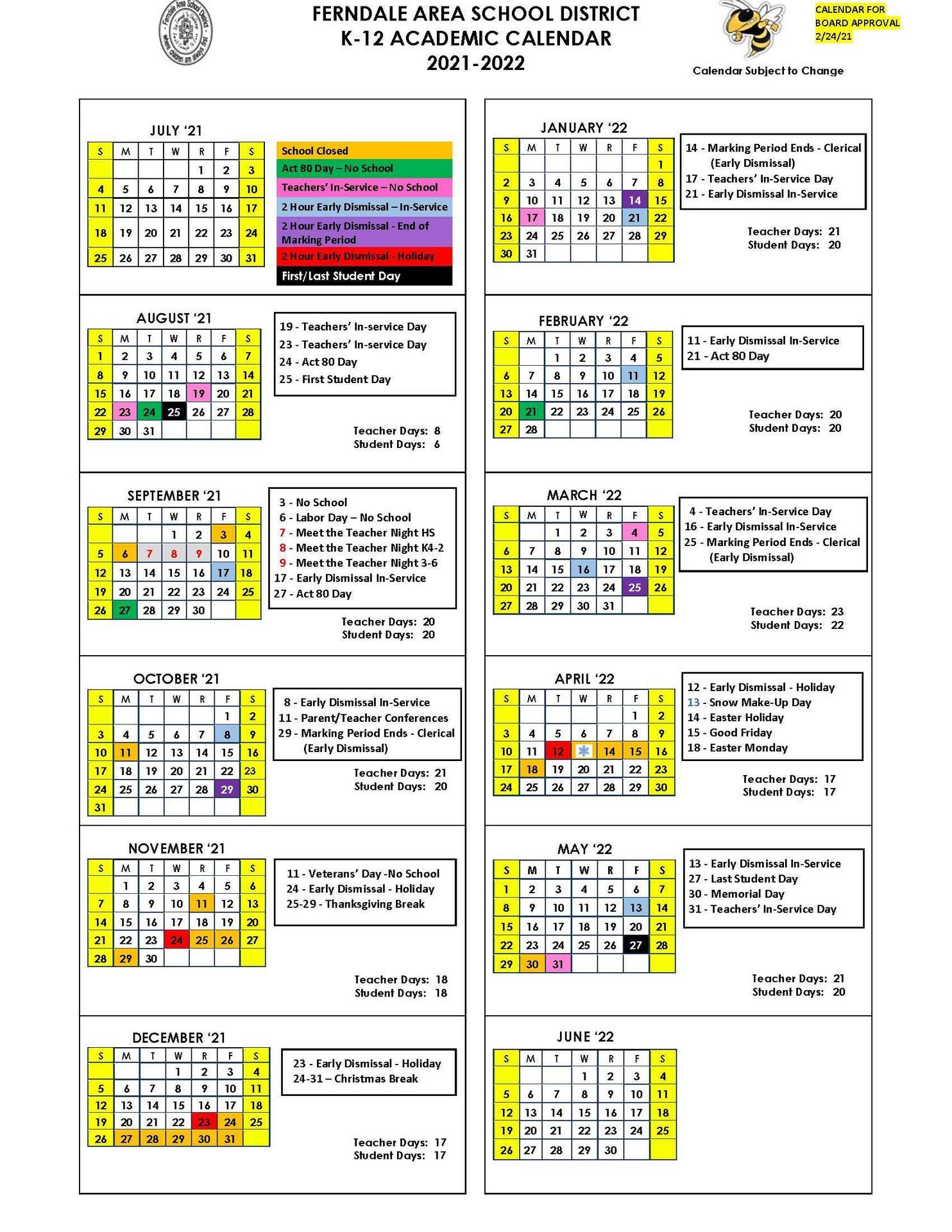 2021-2022 K-12 Academic Calendar