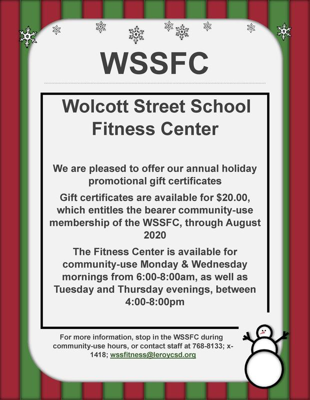 WSS Fitness Center Gift Certificate Information