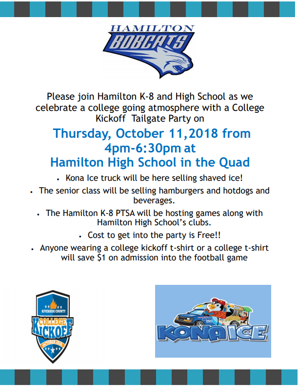 Hamilton High Tailgate Flyer for College Kickoff.
