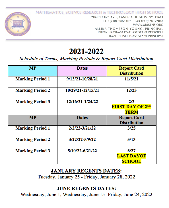 Marking Period and Report Card Distribution Dates