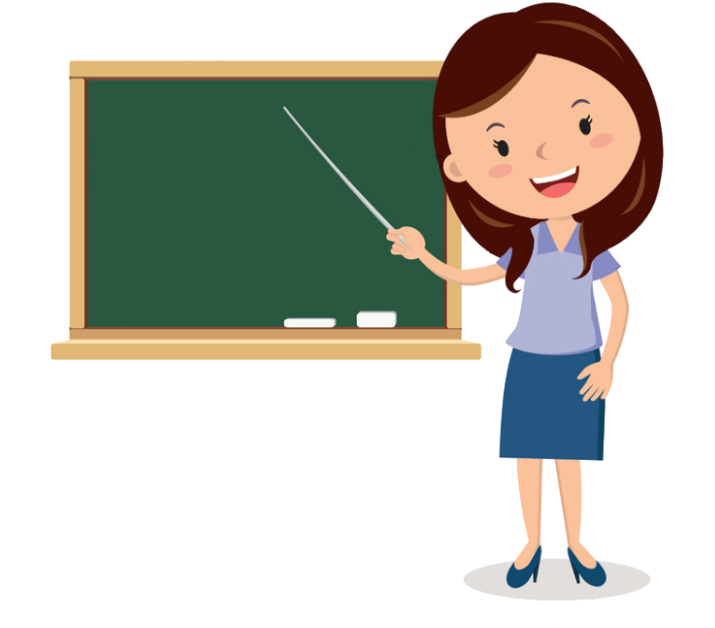 Teacher at Board Clipart