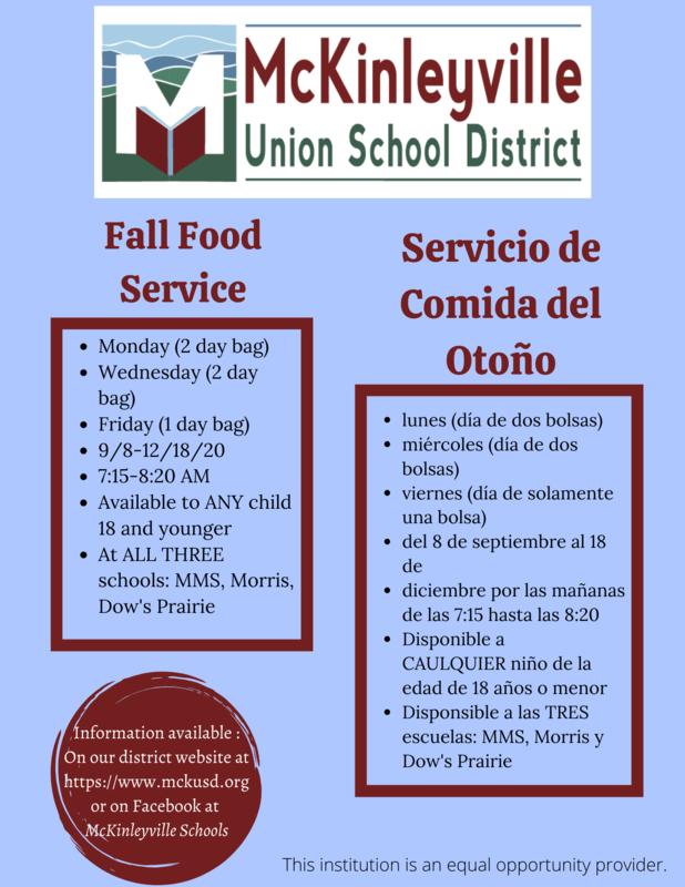 Food Service Schedule Flyer