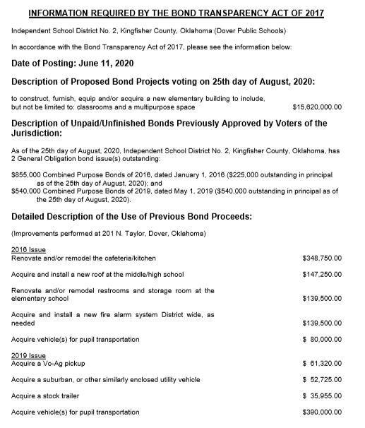Bond Transparency Act of 2017 Information (2020 Bond) Featured Photo