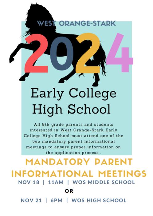 Mandatory meeting for Class of 2024 ECHS