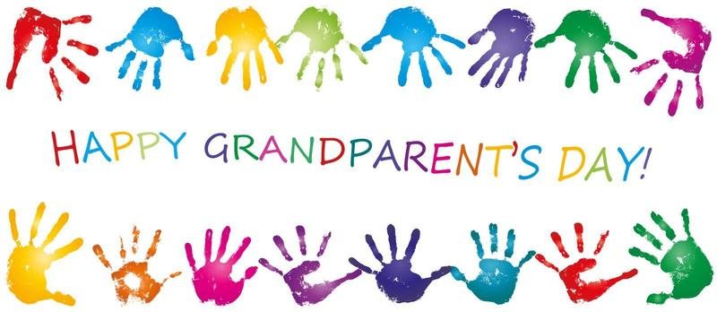 hand prints in different colors with the words happy grandparents day