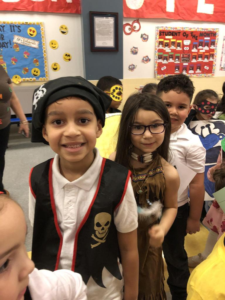 close up of students wearing costumes