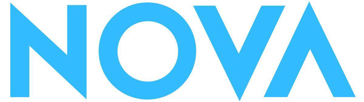 Nova logo, light blue text