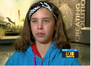a photo of Baker Middle School Student, Mikayla Weavel from WAFB TV Interview