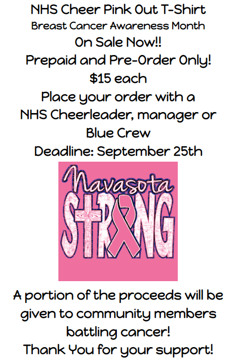 PINK OUT SHIRTS AVAILABLE FROM NAVASOTA CHEER Featured Photo