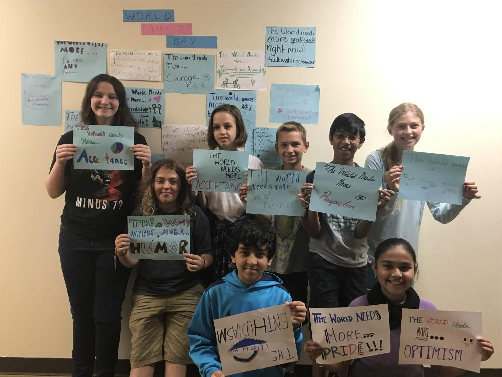Middle School students celebrate World Character Day.