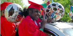 AHS Parade of Graduates 2020 girl in car with balloons