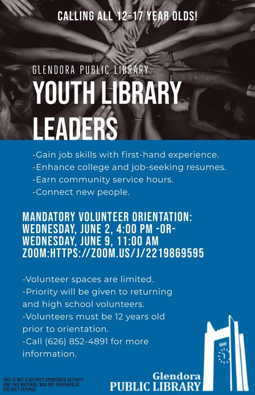 Glendora Public Library Youth Leaders wanted