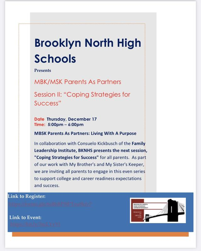 "MBK/MSK Parents As Partners Session II: ""Coping Strategies for Success"""
