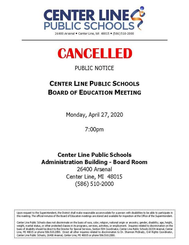 The April 27, 2020 Board of Education meeting has been cancelled