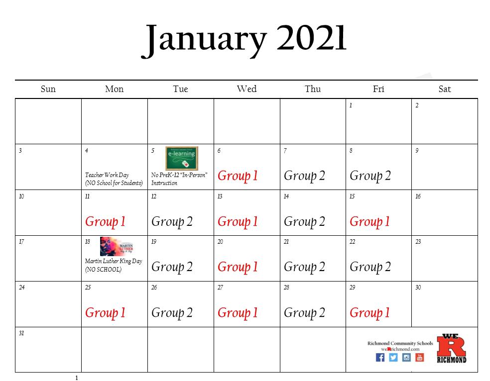 January 2021 Hybrid Calendar