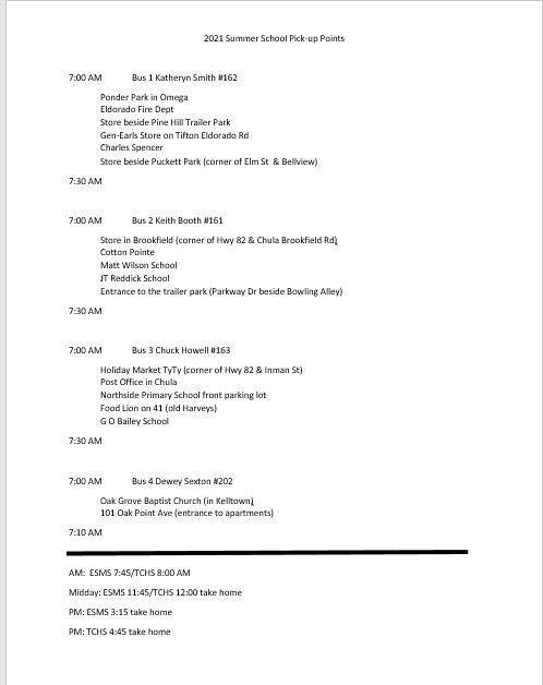 Summer School Bus Schedule Featured Photo