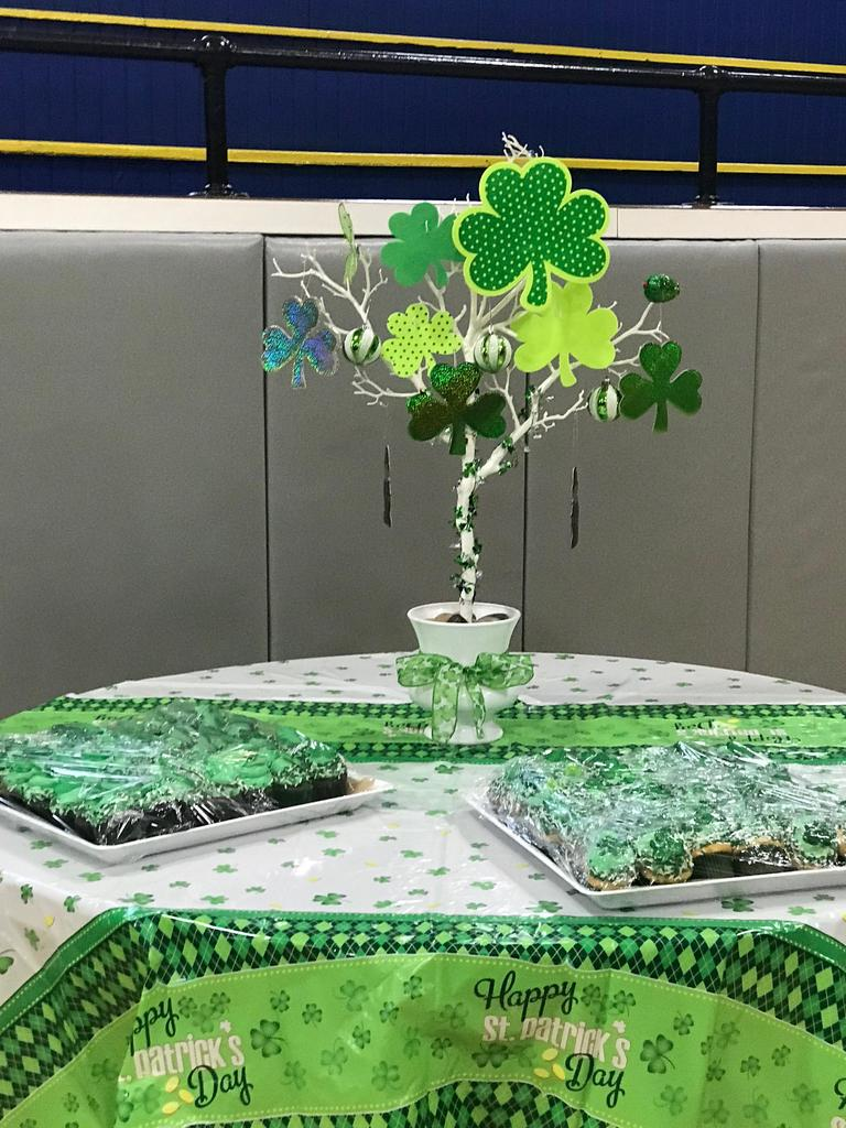 green goodies on a table with a shamrock tree