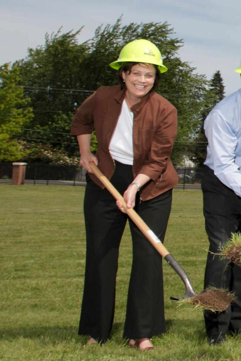 Denise breaking ground at the athletics stadium renovation