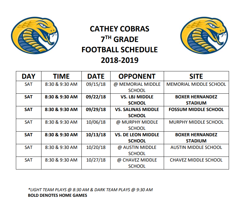 2018 - 2019 Cathey Middle School Football Schedule 7th Grade