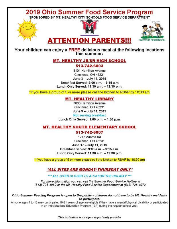 Ohio Summer Food Service Program flyer