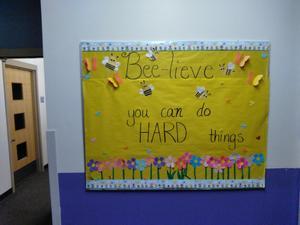 Believe message on school bulletin board