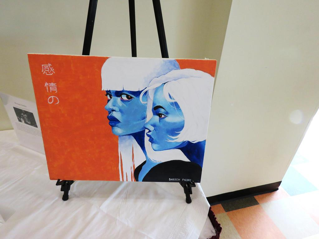 Painting of two women with blue faces and white hair against a vibrant orange background