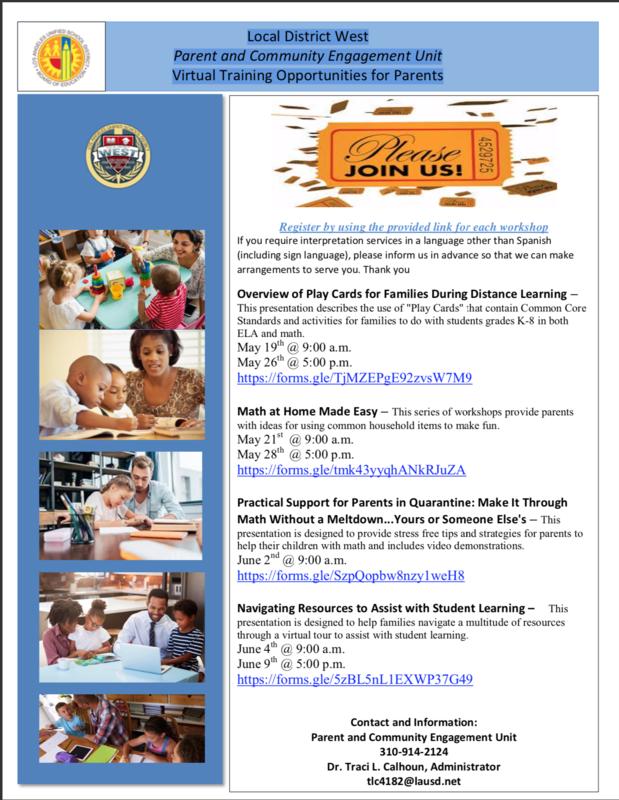 Local District West Parent and Community Engagement Unit Virtual Training Opportunities for Parents Thumbnail Image