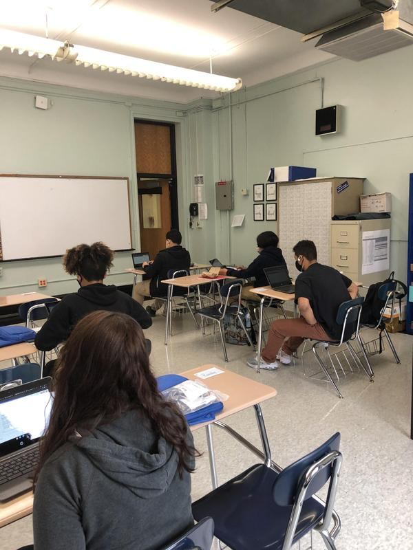 5 students in socially distanced classroom