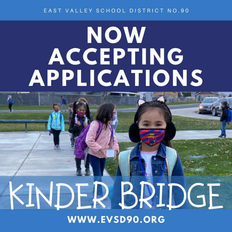 Now Accepting Applications for Kinder BRIDGE with a picture of a student wearing a kitten headband and a moxee face mask.