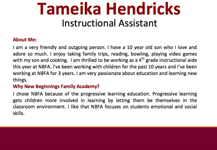 Ms. Hendricks Bio