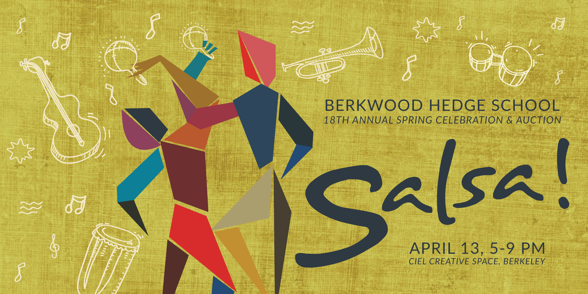 Stylized image of two people dancing against a light green background with white line drawings of instruments and musical notes. The text reads Berkwood Hedge School 18th Annual Spring Celebration and Auction, Salsa, April 13, 5-9pm, Ciel Creative Space, Berkeley