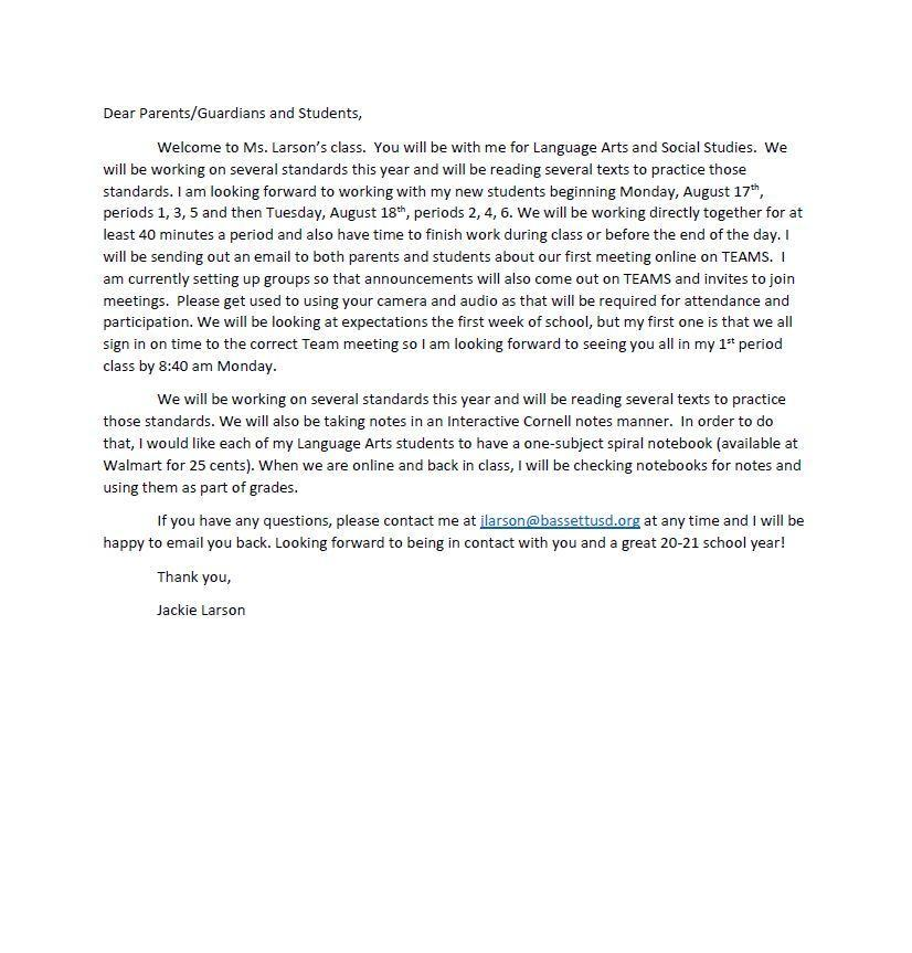 Welcome Back Letter from Larson