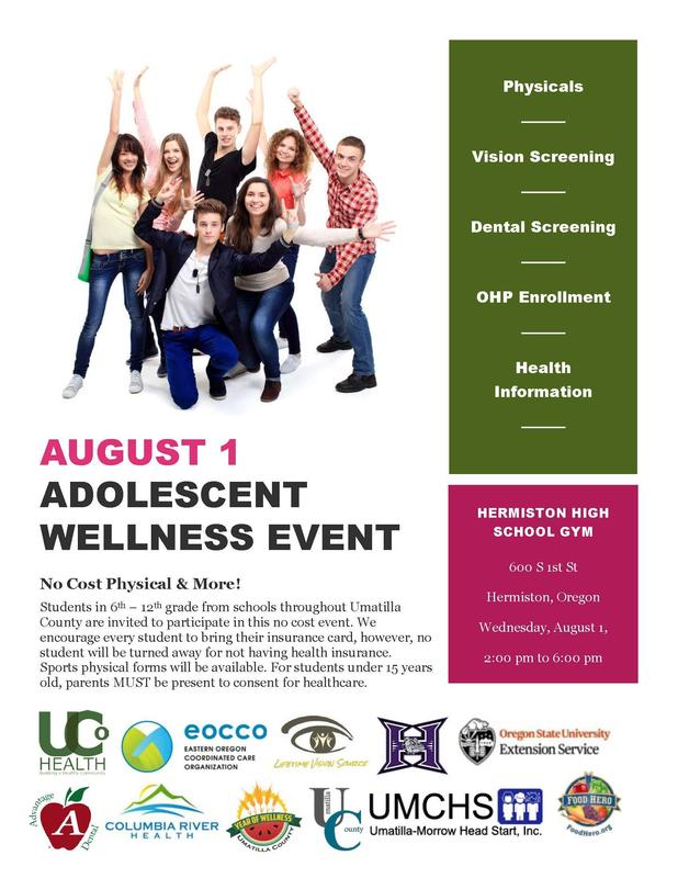 Flyer promoting a wellness event at Hermiston High School