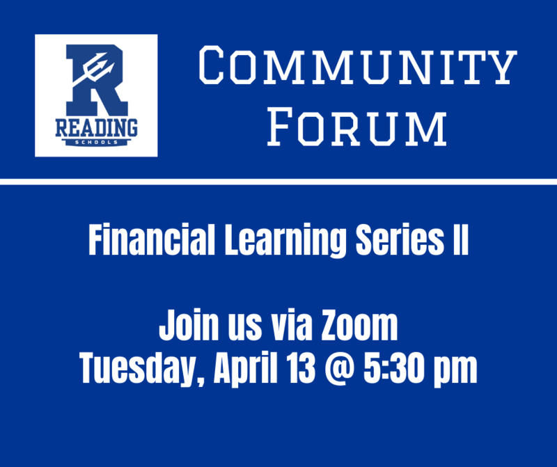 Community Forum, financial learning Series, Join Us Via Zoom, Tuesday April 13 at 5:30 pm