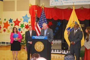 Principal Birne, Mayor Stack, Gov Murphy and State Education Commissioner