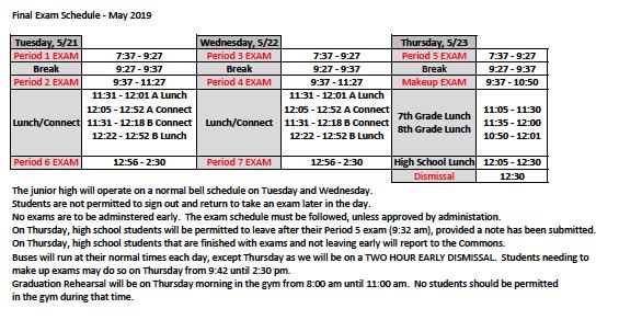 2nd semester exam schedule