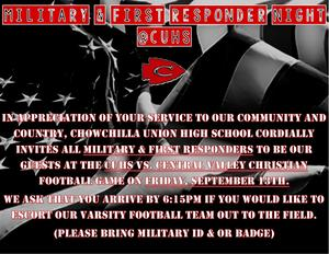 Military and 1st Responders Football Game Flyer