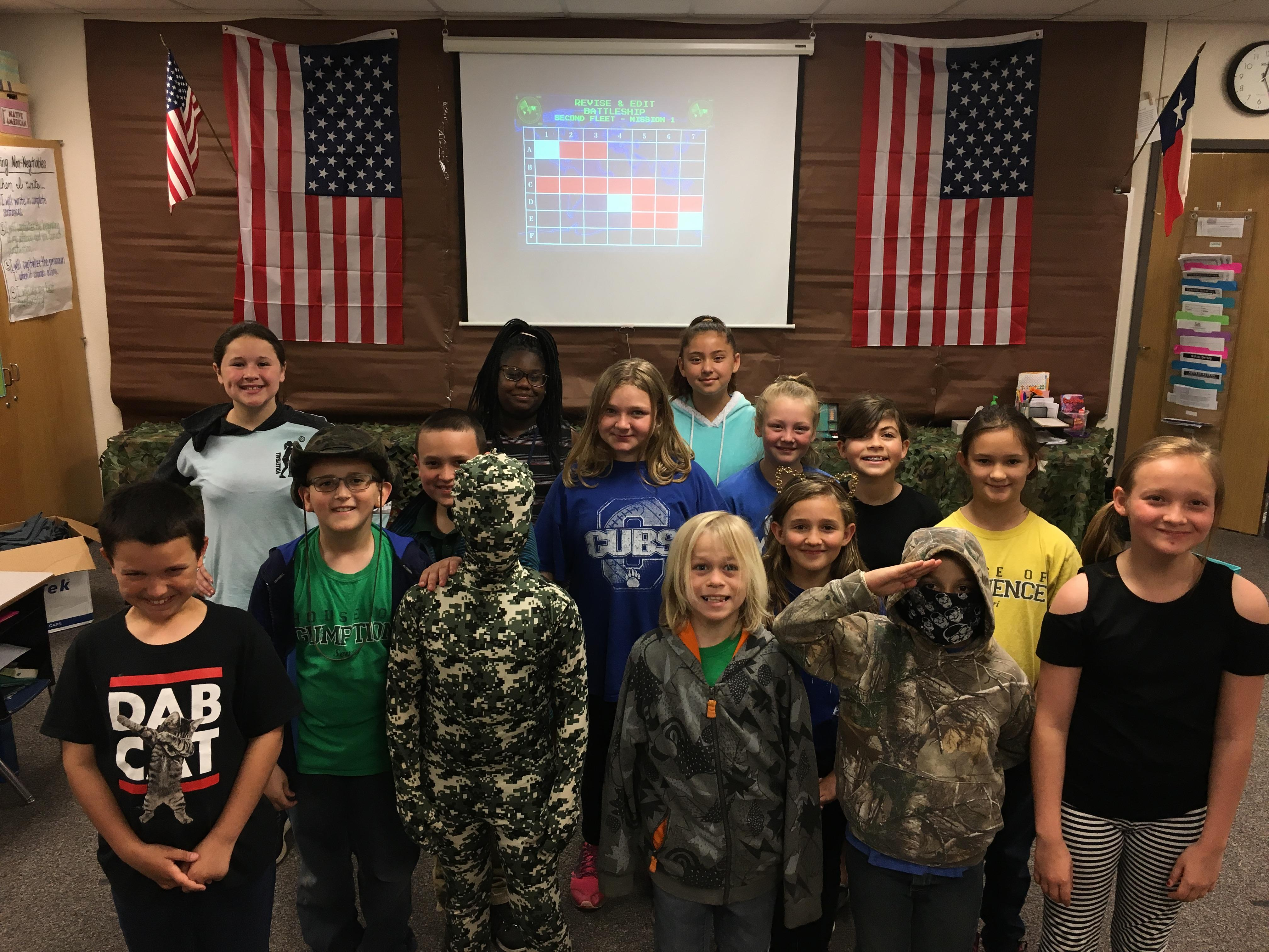 West Fourth Graders Prepare for STAAR Test with Life-Size Battleship Game