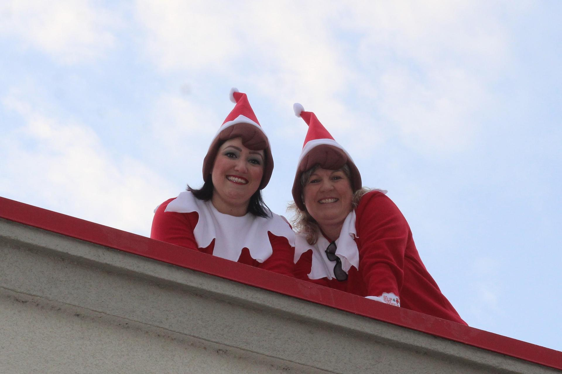 Two Elf on the Shelf sightings on the Science Building roof