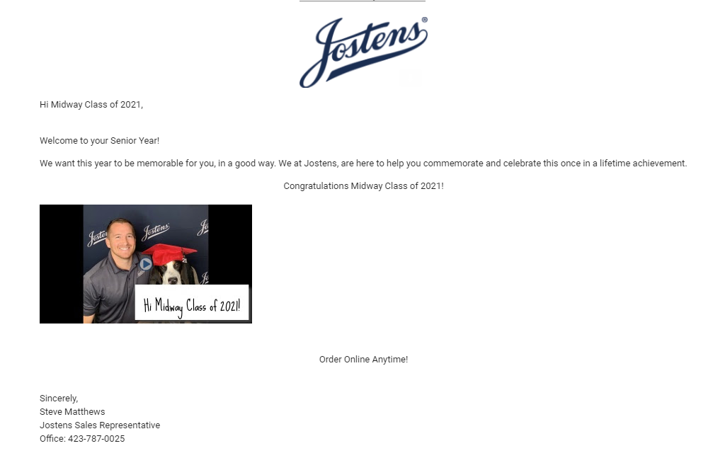 A note from Josten's