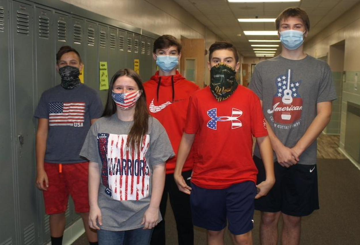 students dress in patriotic colors