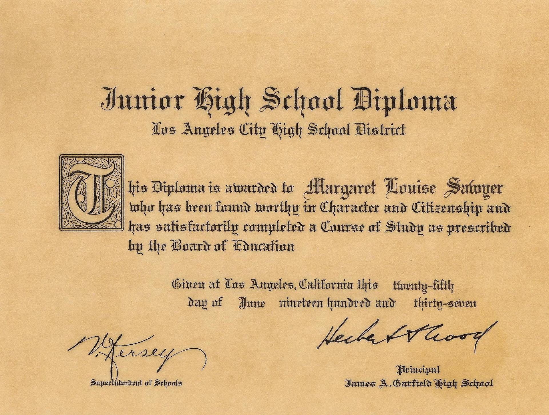 Miss Sawyer's Garfield Junior High Diploma