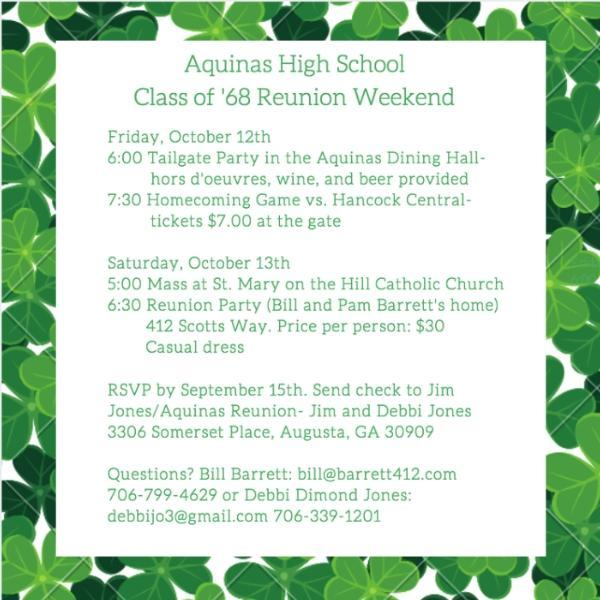 Class of '68 reunion invitation