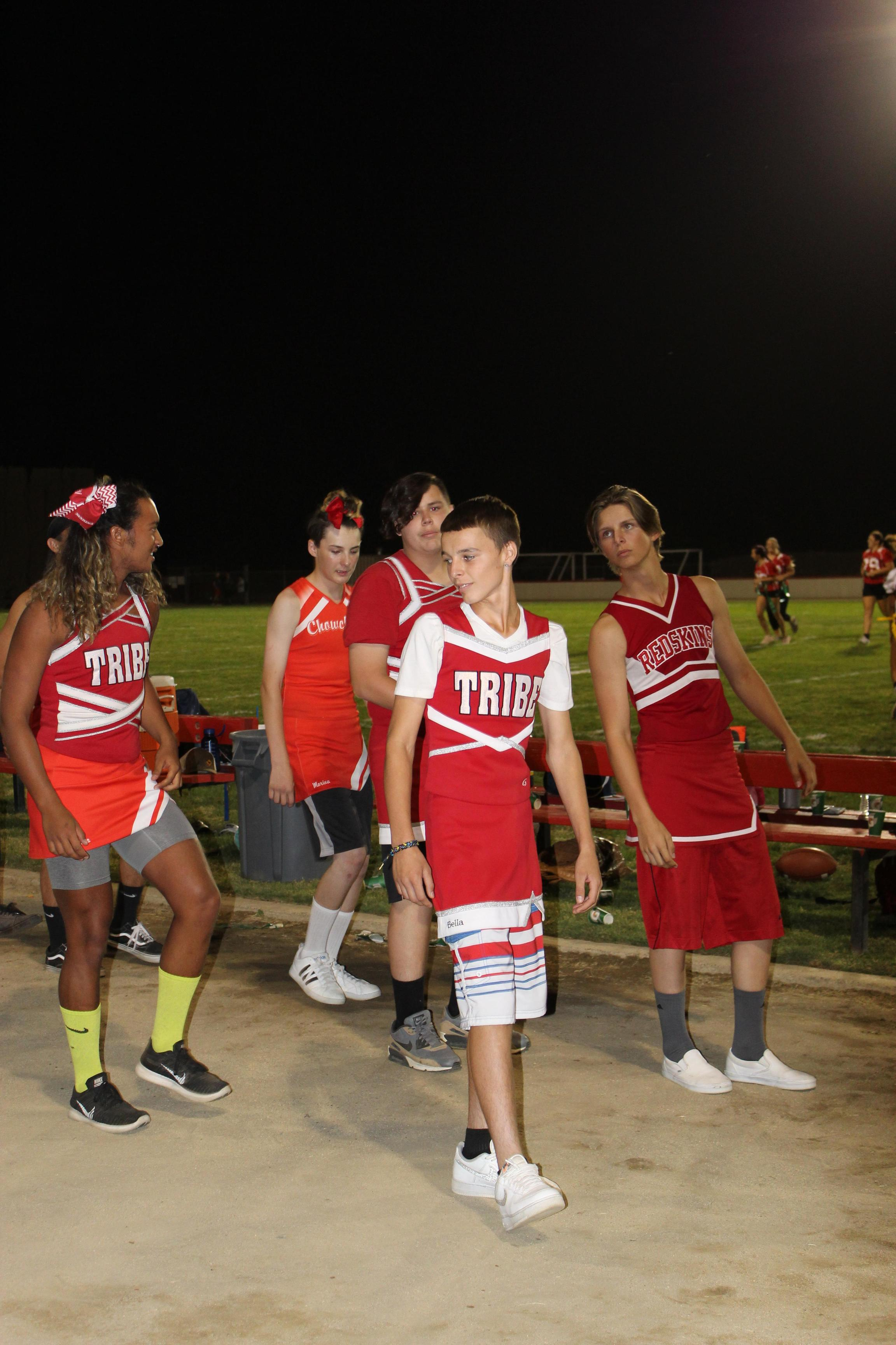 Students having fun at Powderpuff game