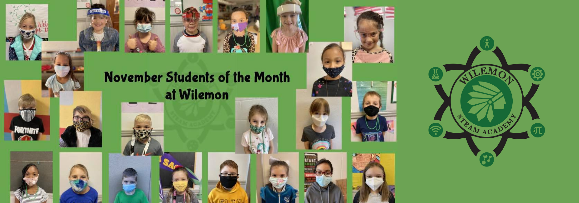 collage of young students wearing facemasks that are the students of the month