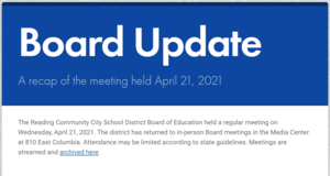 Front page of the Board Update for 4-21