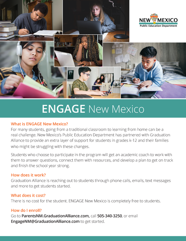 A flyer with photos of different young people studying. The headline reads ENGAGE New Mexico, and the text below reads What is ENGAGE New Mexico? with information underneath, followed by How does it work? What does it cost? and How do I enroll?