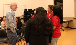 Students speak to board member Ron Fleming