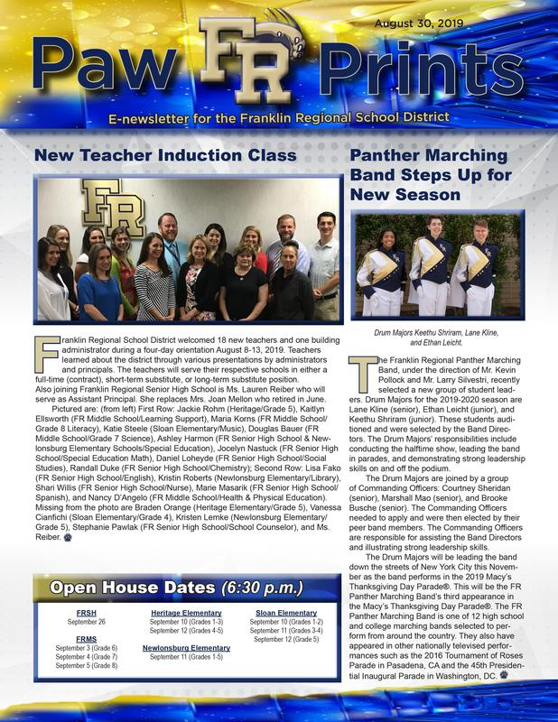 PawPrints 8.30.19 e-newsletter featuring the FR Panther Marching Band and new teacher induction.