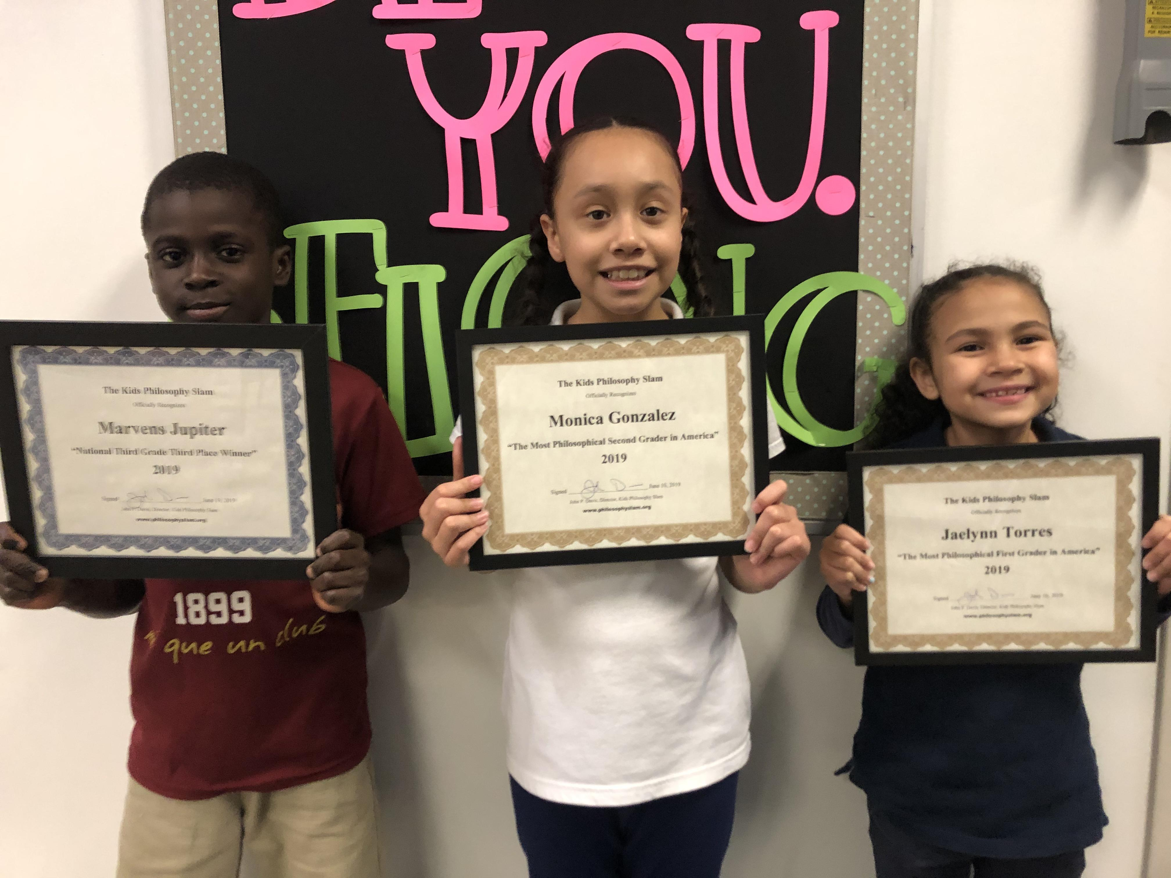 These students were chosen as from Kids Philosophy Slam as 2019 National winners! From left to right: